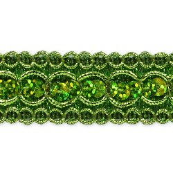 E6973  Lime  Sequin  Metallic  Braid Trim 7/8""
