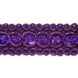 """E6973  Purple Sequin Metallic Braid Trim 7/8"""""""