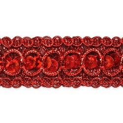 """E6973  Red  Sequin Metallic Braid Trim 7/8"""""""