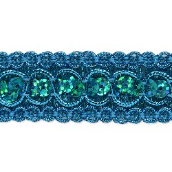"RME6973  Turquoise ( 26"" Remnant ) Sequin Metallic Braid Trim"