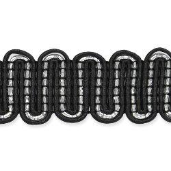 "E7021 Black Silver Metallic Braid Sewing Craft Trim 3/4"""