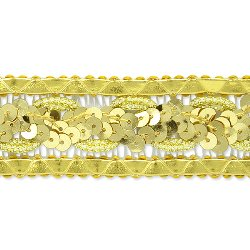 "E7022 Gold Sequin Braided Metallic Sewing Craft Trim 1 1/4"""