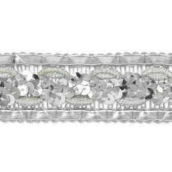 "E7022 Silver Sequin Braided Metallic Sewing Craft Trim 1 1/4"""