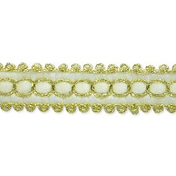 RME7026-iv-17 (REMNANT) E7026 Ivory Gold Woven Braid Sewing Craft Trim 1/2""