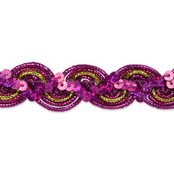 E7029  Fuchsia GoldTrim Sequin Metallic Braid  3/4""
