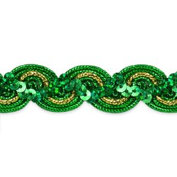 "RME7029-33"" REMNANT  Green Gold Trim Sequin Metallic Braid  3/4"" wide"