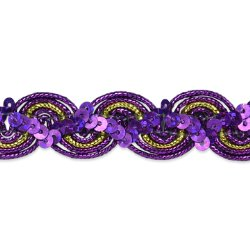 "RME7029  REMNANT 32"" Purple Gold Trim Sequin Metallic Braid"