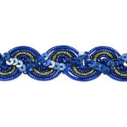 """E7029  Royal Blue Gold Trim Sequin Metallic Braid  3/4"""""""