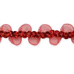 "E7030 Red Ruffle Sequin Sewing Craft Trim 5/8"""