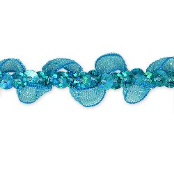 E7030 Turquoise Ruffle Sequin Sewing Craft Trim 5/8""