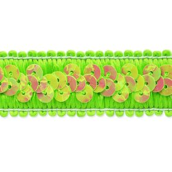 E7039  Lime Trim Sequin Stretch  7/8""