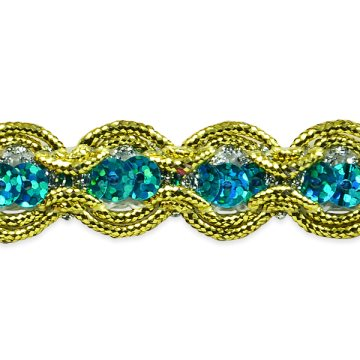 "RME8044 Aqua 32"" (REMNANT) Gold Sequin Cord Sewing Craft Trim"