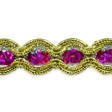 E8044 Fuchsia Gold Sequin Cord Sewing Craft Trim 5/8""