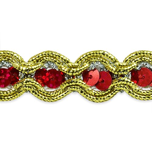 E8044 Red Gold Sequin Cord Sewing Craft Trim 5/8""