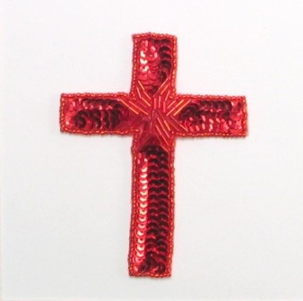 E837SABC Red Cross Beaded Sequin Applique 4""
