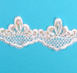 E876  White Pearl Sequin Lace Wedding Bridal Sewing Trim 4""