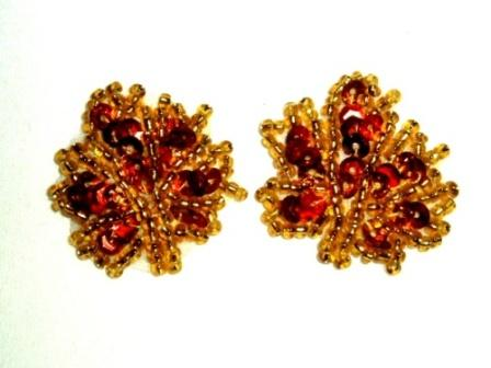 """EB14  Set of ( 2 )  Amber Gold Leaves Sequin Beaded Appliques 1"""""""