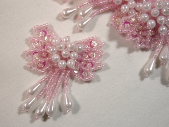 """0036 Pink & Pearl Bow 2"""" Sequin Beaded Applique  0036"""