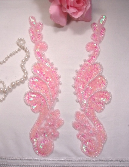 """0016  Pink Crystal AB Mirror Pair 8"""" Sequin Beaded Appliques"""