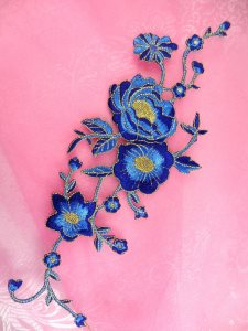 GB158 Embroidered Applique Blue Gold Rose Iron On Patch 10""