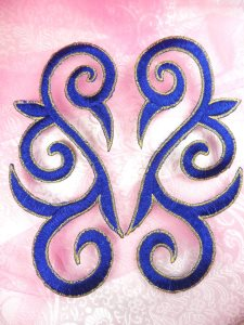 GB164 Embroidered Appliques Blue Gold Scroll Mirror Pair Iron On Patch 7""