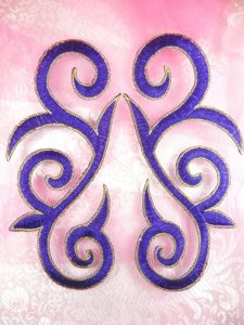 """GB164 Embroidered Appliques Purple Gold Scroll Mirror Pair Iron On Patch 7"""""""
