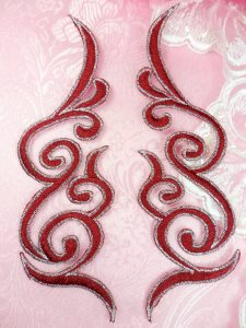GB89 Embroidered Appliques Burgundy Silver Edge Mirror Pair Iron On Patch 6.75""