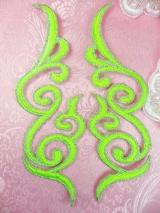 GB89 Embroidered Appliques Neon Green Silver Edge Mirror Pair Iron On Patch 6.75""