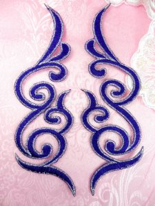 GB89 Embroidered Appliques Purple Silver Edge Mirror Pair Iron On Patch 6.75""