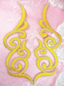 GB89 Embroidered Appliques Yellow Silver Edge Mirror Pair Iron On Patch 6.75""
