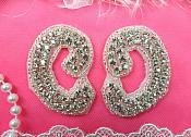 "Crystal Rhinestone Appliques Silver Beaded Mirror Pair 2.5"" (ACT/XR354X/C-slcr)"