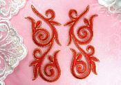 """Embroidered Appliques Mirror Pair Red Gold Metallic Iron On Patch 5.25"""" GB120X"""