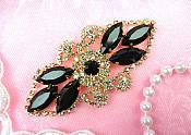 "Gold Backing Embellishment Black Marquise Crystal Rhinestone Applique 3.25"" (GB335-bkgl)"