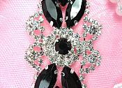 "Crystal Rhinestone Embellishment Marquise Black Silver Metal Back 3.25"" (GB335-bksl)"