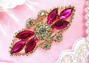 """Crystal Rhinestone Embellishment Marquise Fuchsia Gold Metal Back 3.25"""" (GB335-fsgl2)"""