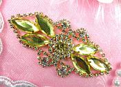 "Crystal Rhinestone Embellishment Marquise Light Yellow Gold Metal Back 3.25"" (GB335-ltylgl)"