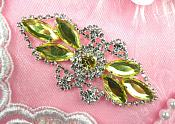 "Crystal Rhinestone Embellishment Marquise Light Yellow Silver Metal Back 3.25"" (GB335-ltylsl)"