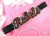 Black Stretchy Headband Rebels Rhinestone Beaded Applique (MS115)
