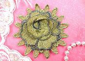 "3D Applique Floral Gold Embroidered Flower 3"" (MS117-gl)"