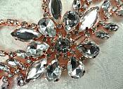 """Rose Gold Embellishment Crystal Rhinestone Applique 7.5"""" (XR119-rsglcr)"""