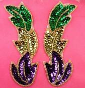 "Leaf Appliques Mirror Pair Mardi Gras Beaded Sequin 5.25"" (XR301X-mg)"