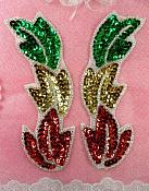 "Leaf Appliques Mirror Pair Christmas Beaded Sequin 5.25"" (XR301X-xmas)"