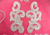 "(REDUCED) Sequin Appliques Crystal MIRROR PAIR Scroll Designer Beaded Iron On White Backing 7"" (RMXR357X)"