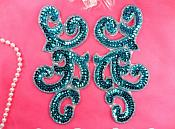 "Sequin Appliques Turquoise MIRROR PAIR Scroll Designer Beaded Iron On 7"" (XR357X-tr)"