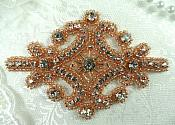 "Rose Gold Applique Beaded Crystal Rhinestone Iron On Patch 4"" (XR5-rsglcr)"