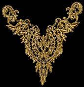 "Metallic Gold Yoke Collar Venise Lace Applique 10"" (F25)"