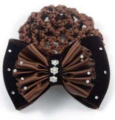 E221 Brown Hair Bow w/ detachable Bun Net
