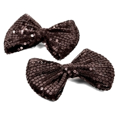 E223FA Set of 2 Black Bow Sequin Hair Bow Clips or Applique 3.75""