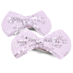 E223FA Set of 2 Silver Bow Sequin Hair Bow Clips or Applique 3.75""