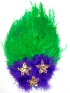 "FB53  Mardi Gras Feather Gold Sequin Applique Brooch 7"""